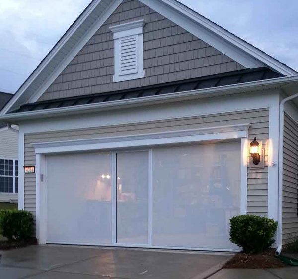 Lifestyle Garage Door Screen PCB Florida - Privacy at Twilight